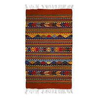 Zapotec wool rug, 'Zapotec Fantasy' (2x3) - Geometric Wool Area Rug (2x3)