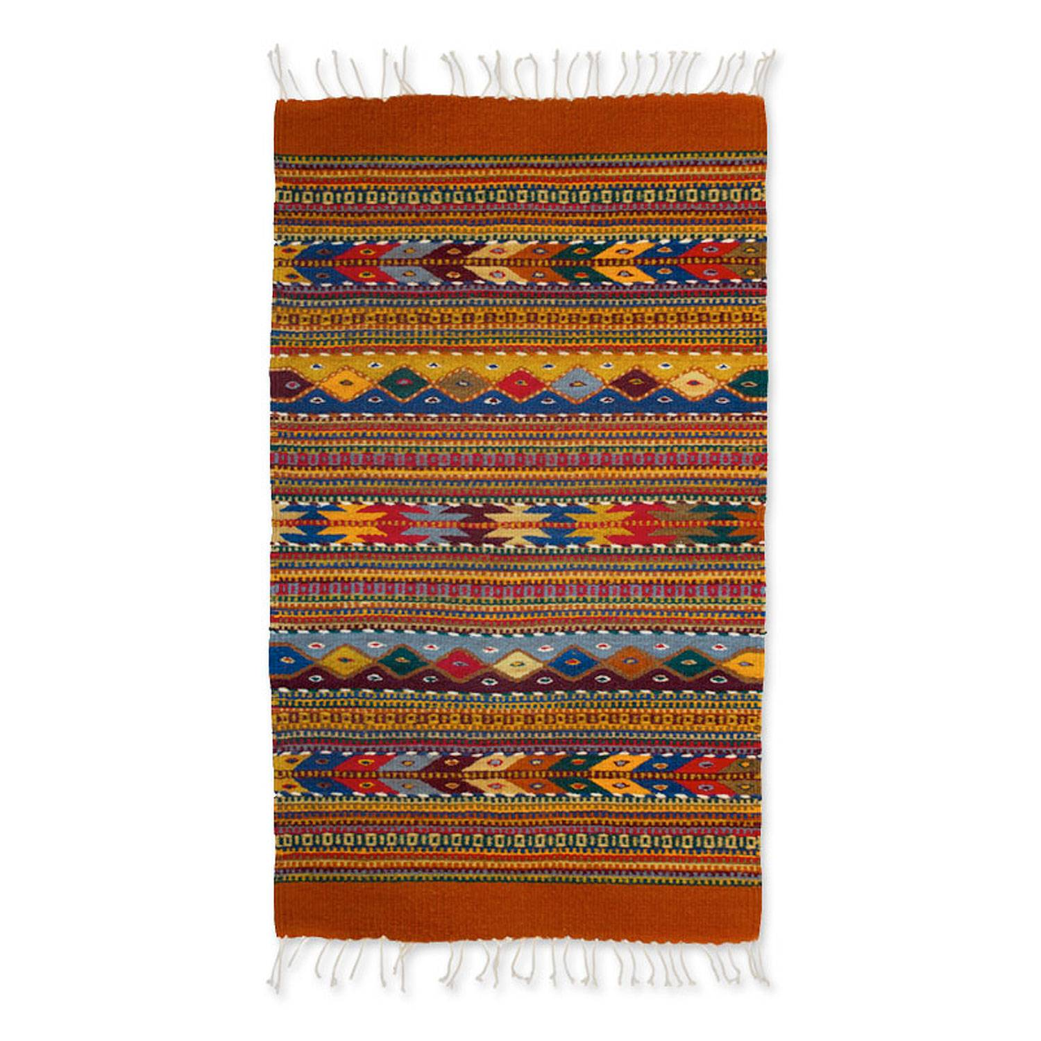 Unicef Uk Market Geometric Wool Area Rug 2x3 Zapotec
