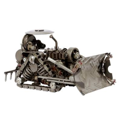 Auto part statuette, 'Rustic Bulldozer' - Hand Crafted Recycled Auto Parts and Metal Sculpture
