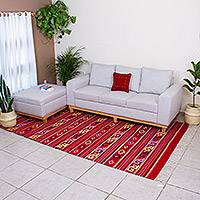 Zapotec wool rug, 'Scarlet Paths' (6.5x10) - Zapotec wool rug (6.5x10)