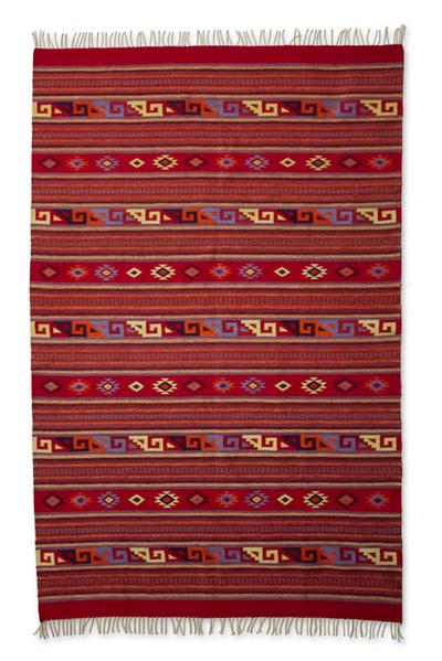 Zapotec wool rug, 'Scarlet Paths' (6.5x10) - Zapotec wool rug (6.5x10)