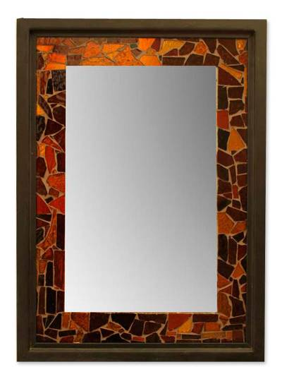 Mirror, 'Acapulco Sunset' - Handcrafted Mosaic Stained Glass Mirror 28 x 20 in