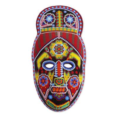 Beaded mask, 'Green Jicuri Flower' - Handmade Hand Beaded Huichol Papier Mache Mask