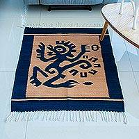 Zapotec wool rug, 'Ozomatli Dancing Monkey' (2.5x3.5)