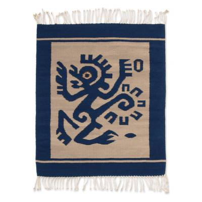 Zapotec wool rug, 'Ozomatli Dancing Monkey' (2.5x3.5) - Wool Area Rug (2.5x3.5)