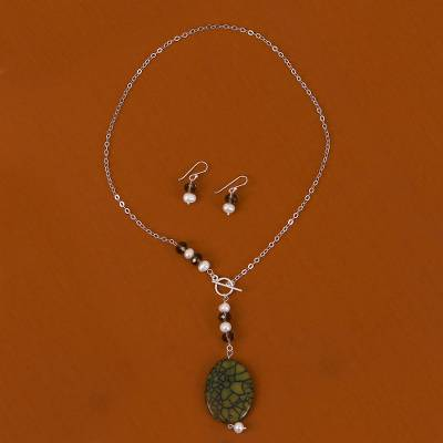 Pearl and agate jewelry set, 'Chiapas Rainforest' - Handmade Agate Jewelry Set with Pearl and Sterling Silver