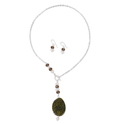 Handmade Agate Jewelry Set with Pearl and Sterling Silver