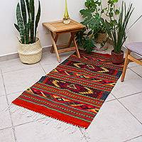 Zapotec wool rug, 'Star Twins' (2.5x5)