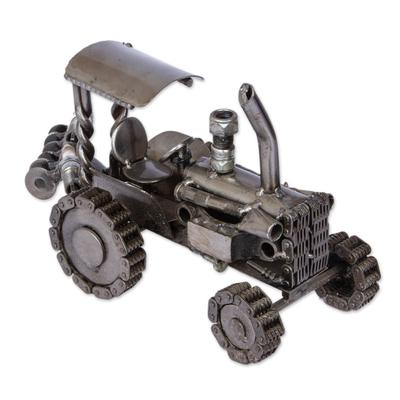 Auto parts sculpture, 'Rustic Farming Tractor' - Unique Mexican Recycled Metal Auto Parts Sculpture