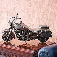 Auto parts sculpture, 'Adventurous Motorbike' - Mexican Upcycled Motorcycle Sculpture