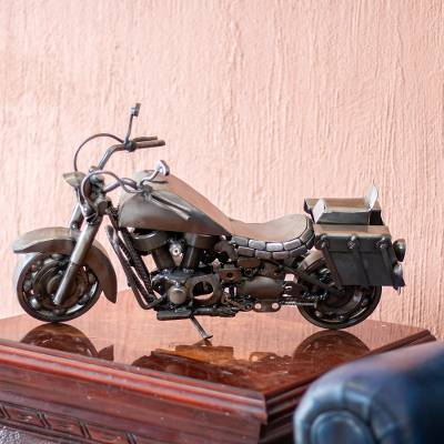 Auto parts sculpture, 'Adventurous Motorbike' - Hand Made Rustic Auto Parts Sculpture Recycled Mexico