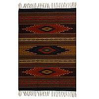 Zapotec wool rug, 'Ancestral Diamonds' (4x6)