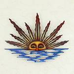 Artisan Crafted Mexican Sun and Moon Steel Wall Art, 'Sunset in Sayulita'
