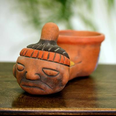 Handmade Archaeological Ceramic Whistle Replica, 'Crying Aztec Child'