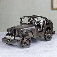 Auto part statuette, 'Rustic Off-Road Jeep' - Artisan Crafted Upcycled Sculpture
