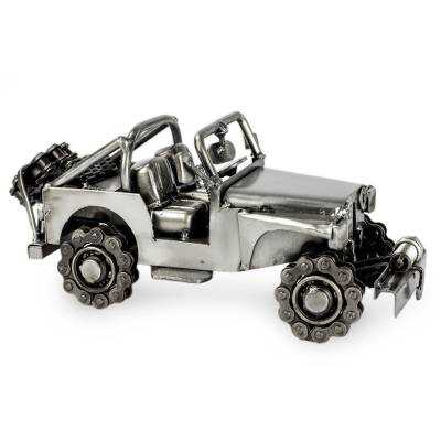 Auto part statuette, 'Rustic Off-Road Jeep' - Artisan Crafted 4 x 4 Metal Recycled Auto Parts Sculpture