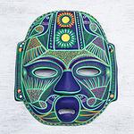 Hand Made Ceramic Green Bird Mask, 'Jade Olmec Lord'