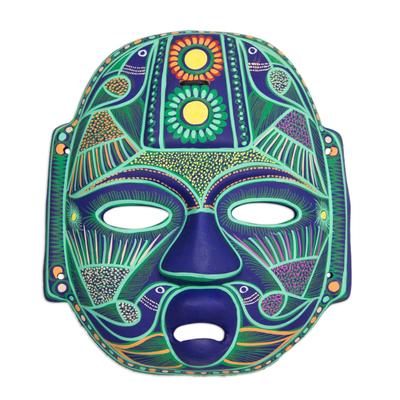 Ceramic mask, 'Jade Olmec Lord' - Hand Made Ceramic Green Bird Mask