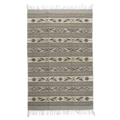 Zapotec wool rug, 'Leaves of Corn' (2.5x5) - Zapotec wool rug (2.5x5)