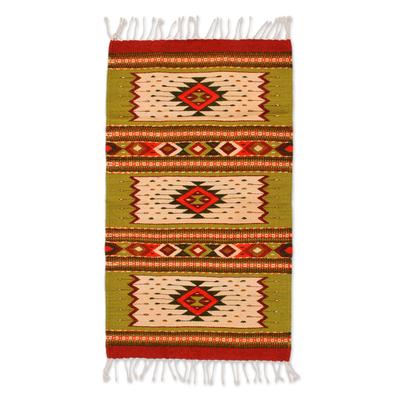 Zapotec wool rug, 'Emerald Stars' (2x3.5) - Zapotec Wool Rug 2 x 3 Feet Handmade in Mexico