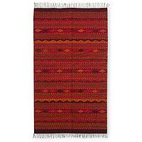 Zapotec wool rug, 'Legend of the Serpent' (2.5x5) - Zapotec wool rug (2.5x5)
