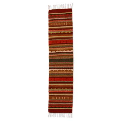 Zapotec wool runner, 'Zapotec Heritage in Brown' (1.5x6) - Handmade Zapotec Wool Rug (1.5x6)