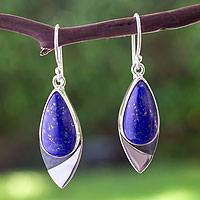 Lapis lazuli dangle earrings, 'Dove of Love' - Handcrafted Modern Silver and Lapis Lazuli Earrings