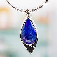 Lapis lazuli pendant necklace, 'Dove of Love' - Mexican Modern Sterling Silver Lapis Lazuli Pendant Necklace