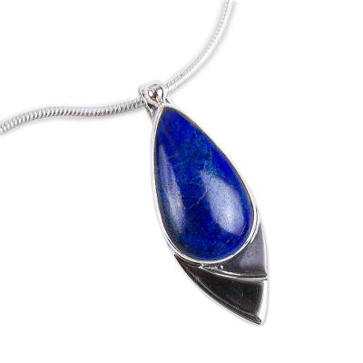 Lapis lazuli pendant necklace, 'Dove of Love' - Mexican Modern Sterling Silver Lapis Lazuli Pendant Necklace