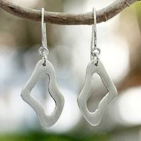 Sterling silver dangle earrings, 'I'm All Ears' - Sterling silver dangle earrings