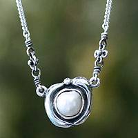 Pearl pendant necklace, 'Iridescent Glow' - Pearl pendant necklace