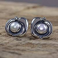 Pearl button earrings, 'Iridescent Glow' - Pearl button earrings