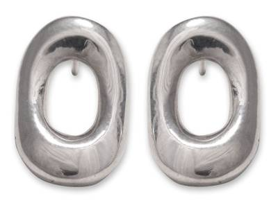 Sterling silver button earrings, 'Mirror to the Soul' -  Handmade Mexico Silver 925 Button Earrings