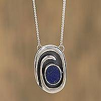 Lapis lazuli pendant necklace, 'Tide Pool' - Handmade Sterling Silver Lapis Lazuli Necklace