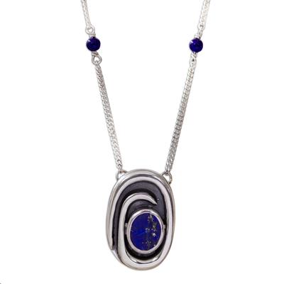 Lapis lazuli pendant necklace, 'Tide Pool' - Handmade Sterling Silver Lapis Lazuli Necklace