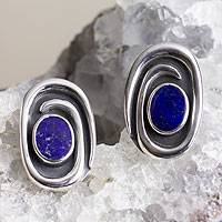 Lapis lazuli button earrings, 'Tide Pool' - Unique Modern Sterling and Lapis Lazuli Earrings