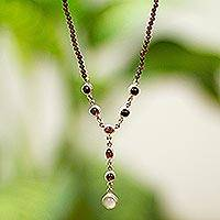 Garnet and moonstone Y necklace, 'Moonlight Passion' - Garnet and moonstone Y necklace