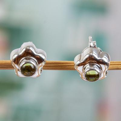Peridot flower earrings, 'Aztec Daisy' - Handmade Floral Fine Silver and Peridot Earrings