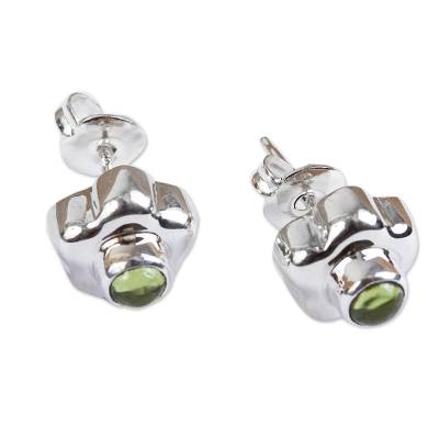 Peridot flower earrings, 'Aztec Daisy' - Handmade Floral Fine Silver and Peridot Earrings