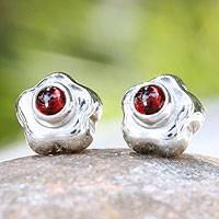Garnet flower earrings, 'Aztec Daisy' - Artisan Crafted Floral Fine Silver and Garnet Earrings