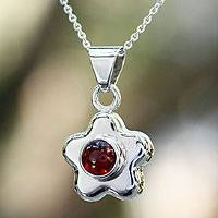 Garnet flower necklace, 'Aztec Daisy' - Garnet flower necklace