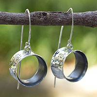 Silver dangle earrings, 'Urban Moon'