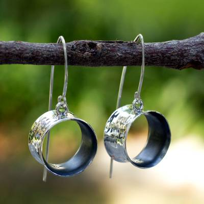 Silver dangle earrings, 'Urban Moon' - Handmade Modern Fine Silver Dangle Earrings
