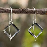 Silver dangle earrings, 'Urban Quadrant' - Modern Fine Silver Dangle Earrings