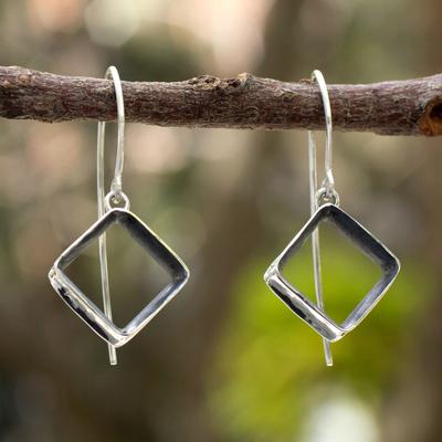Silver dangle earrings, 'Urban Quadrant' - Modern Fine Silver Dangle Earrings