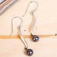 Silver dangle earrings, 'Taxco Contrasts' - Silver dangle earrings