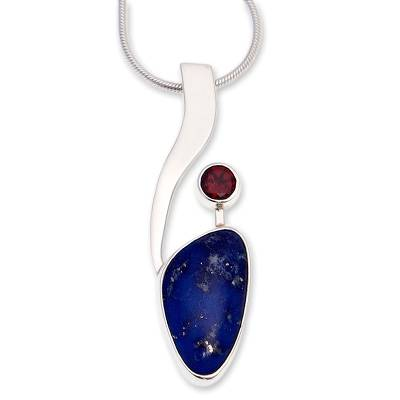 Lapis lazuli and garnet pendant necklace, 'Being Bold' - Handmade Modern Fine Silver Lapis Lazuli Necklace