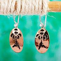 Copper dangle earrings, 'Hummingbird Haven' - Mexican Floral Copper Bird Earrings
