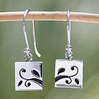 Sterling silver dangle earrings, 'Leafy Branch' - Sterling silver dangle earrings