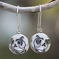 Sterling silver dangle earrings, 'Hopeful Nightingale'